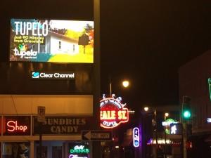 Tupelo billboard on Beale Street during 2015 Elvis Week