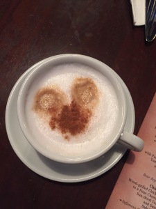 Mickey cappuccinos at Mama Melrose's
