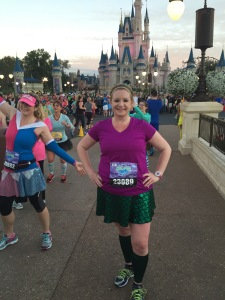 Sweaty pic in front of the castle during the Princess Half Marathon